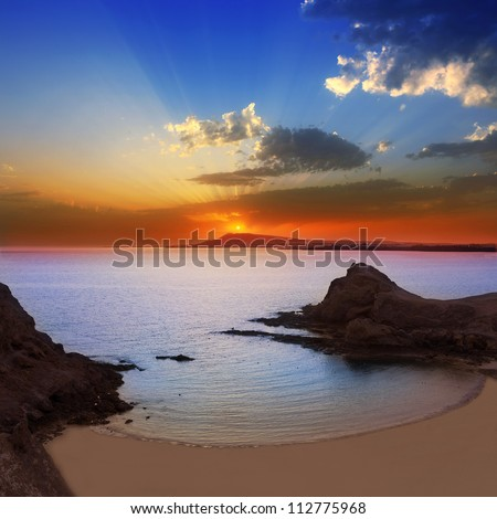 Lanzarote Playa Papagayo beach sunset in Canary islands [Photo illustration] - stock photo