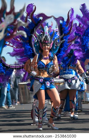 LANZAROTE, SPAIN - FEB 14: Women in costumes at the Carnival in Arrecife, on February 14, 2015. Lanzarote, Canaries islands, Spain. - stock photo