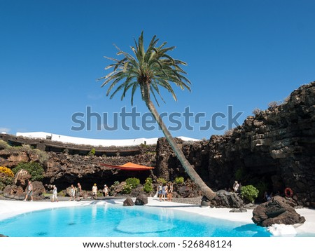 LANZAROTE, SPAIN - SEPTEMBER 9,2015: Swimming pool in the Jameos del Agua. Lanzarote.Spain.