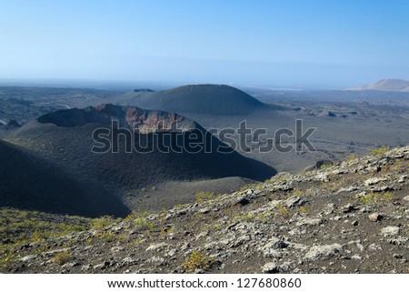 Lanzarote volcano crater - stock photo
