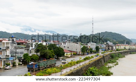 LAO CAI, VIETNAM - SEP 20, 2014: Architecture of Lao Cai, Vietnam. Lao Cai is the capital of Lao Cai province in Vietnam