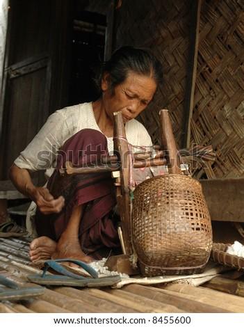 Lao village - stock photo