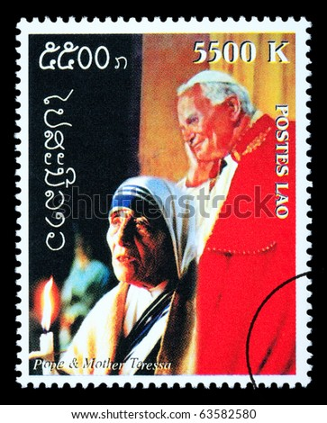 LAOS - CIRCA 2000: A postage stamp printed in Laos showing Pope John Paul & Mother Teresa, circa 2000 - stock photo