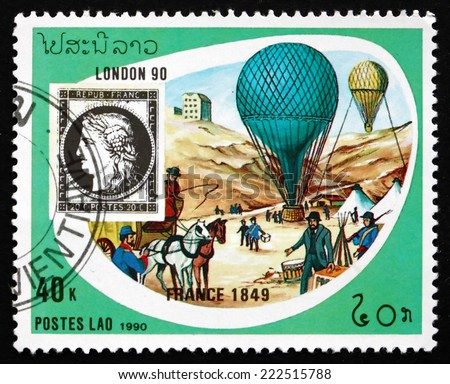 LAOS - CIRCA 1990: a stamp printed in Laos shows Balloons, 1849, France, circa 1990 - stock photo