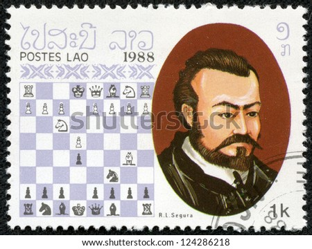 LAOS - CIRCA 1988: A stamp printed in Laos, shows Rodrigo (Ruy) Lopez de Segura , Chess Champion, circa 1988