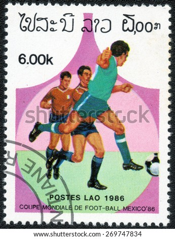 "LAOS - CIRCA 1986: A Stamp printed in LAOS shows the  of series ""World Cup Football Championship, Mexico - 1986"", circa 1986  - stock photo"