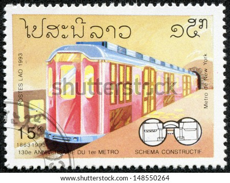 LAOS - CIRCA 1993: stamp printed by Laos, shows Subway, circa 1993.
