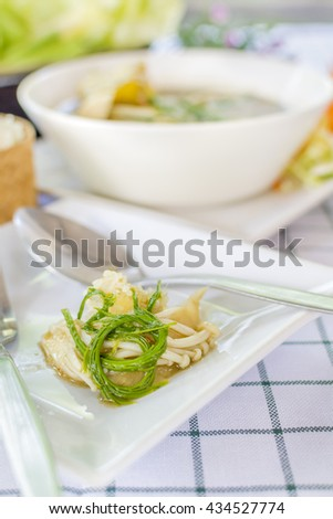 Laos curry  (Thai call Kaeng Nor Mai Sai Biyanang or Kaeng Lao or Tom Prer) baby bamboo pumpkin and mixed vegetable Shoot Soup the traditional delicious Northeastern Style Thai food. - stock photo