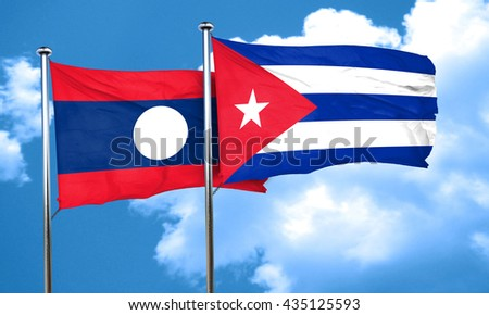 Laos flag with cuba flag, 3D rendering