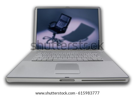 LAP TOP NOTE BOOK PERSONAL COMPUTER WITH SCREEN DISPLAYING PICTURE OF DIRECTORS CHAIR IN SPOTLIGHT