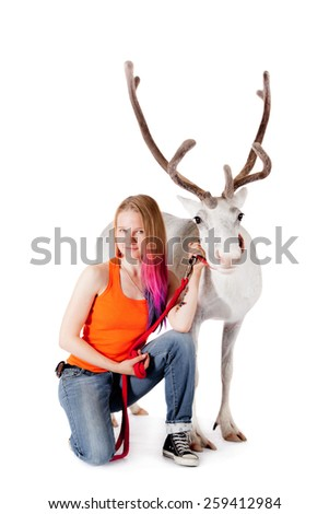 Lapland girl with caribou over white background - stock photo