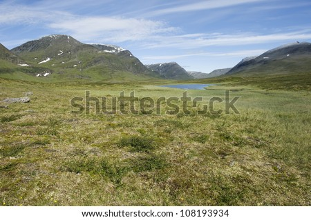 Lapland landscape along Kungsleden hiking path (The King's Trail) in northern Sweden - stock photo