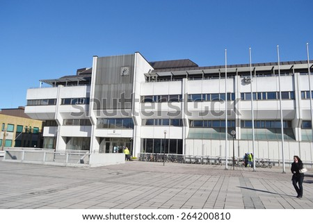 LAPPEENRANTA, FINLAND - MARCH 25, 2015: City Hall in the center of Lappeenranta.