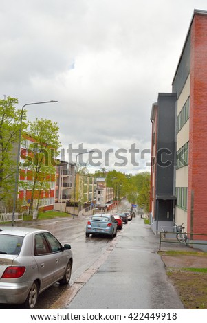 LAPPEENRANTA, FINLAND - MAY 11, 2016: Street in the center of Lappeenranta. Lappeenranta - city and municipality in Finland, in the province of Eastern Finland.