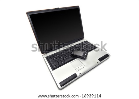 Laptop against a white background