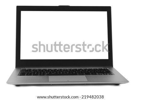 Laptop against white background.