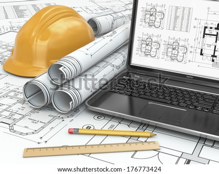 Laptop and blueprint with house project. 3d - stock photo