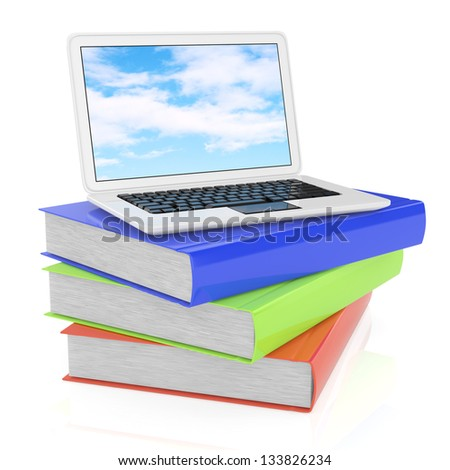laptop and books isolated on white. 3d rendered image