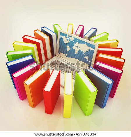 Laptop and books on a white background. 3D illustration. Vintage style.