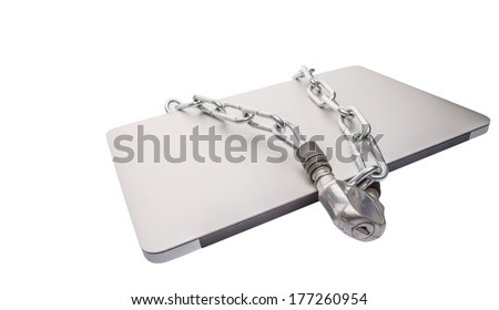Laptop and chains over white background for PC security - stock photo