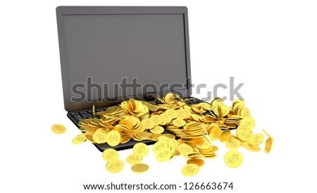Laptop and coins, earning money concept - stock photo