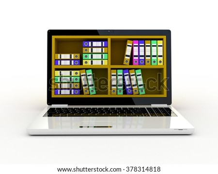 laptop and colorful archive folders into the screen - stock photo