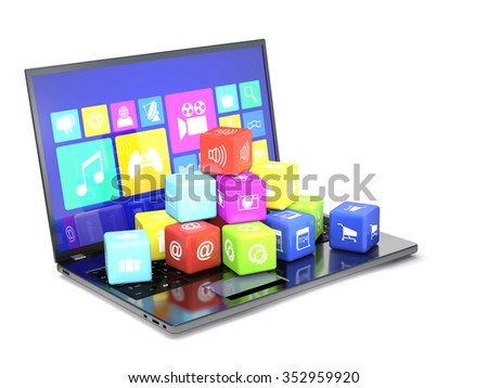 Laptop and cubes with icons on the keyboard on white background. - stock photo