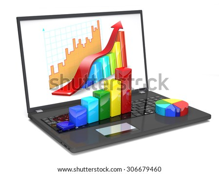 Laptop  and diagrams are on a white background - stock photo