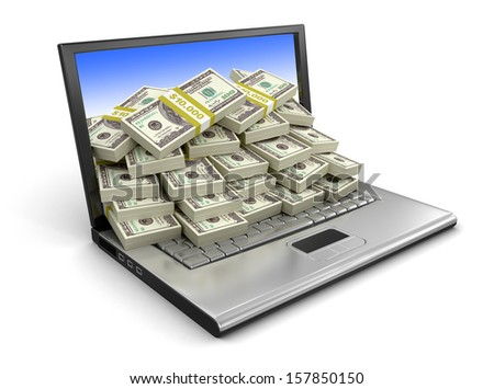 Laptop and Dollars (clipping path included)