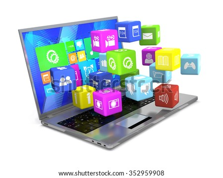 Laptop and flying cubes with icons on white background.