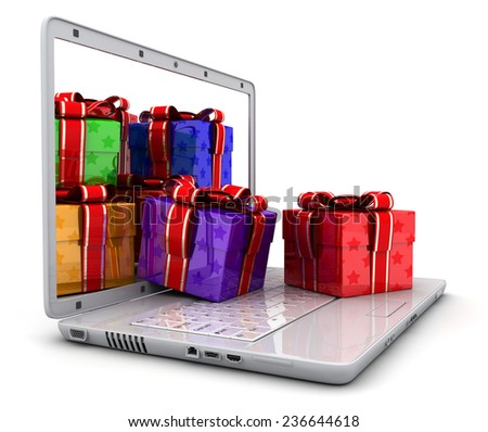 Laptop and many gifts  (done in 3d, isolated)   - stock photo