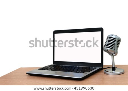 laptop and microphone ,isolate white background - stock photo