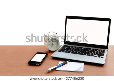 laptop and mobile phone on table ,isolate white background
