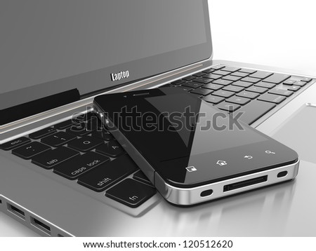 Laptop and mobile phone.Three-dimensional image. 3d - stock photo