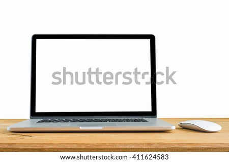 laptop and mouse isolated on desk with clipping path, Blank white space on the screen.