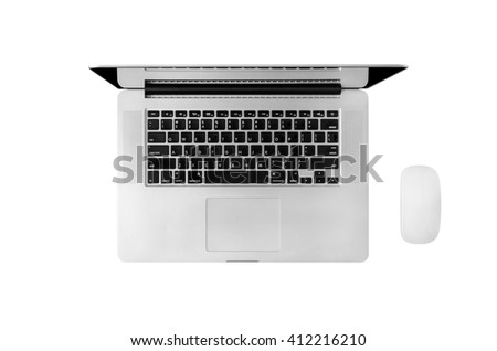 Laptop and mouse isolated with clipping path, top view. - stock photo