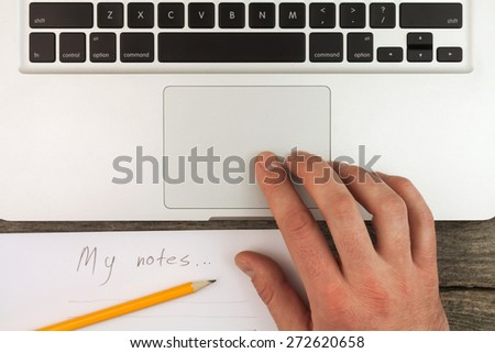 Laptop and notes with penci still life on the desk - stock photo
