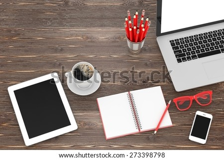 laptop and office stuff, workplace, top view - stock photo