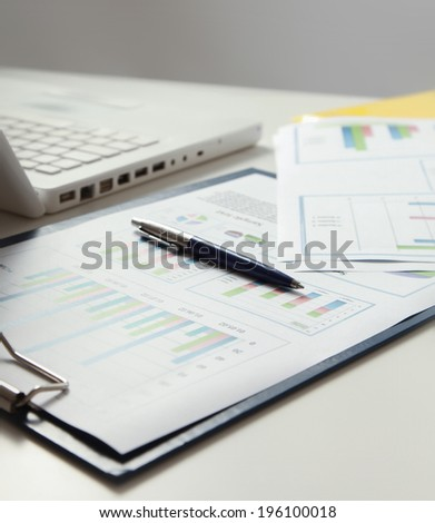 laptop and others tools for work - stock photo