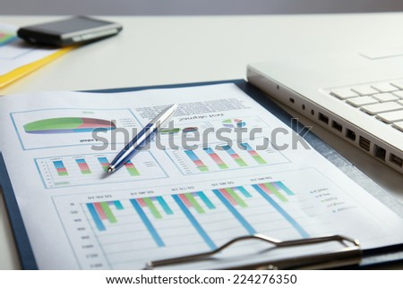 laptop and others tools for work. - stock photo