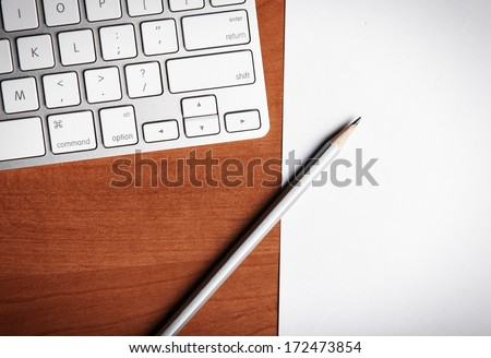 Laptop and pencil, blogger instrument - stock photo