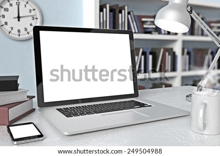 Laptop and phone On Workspace  - stock photo
