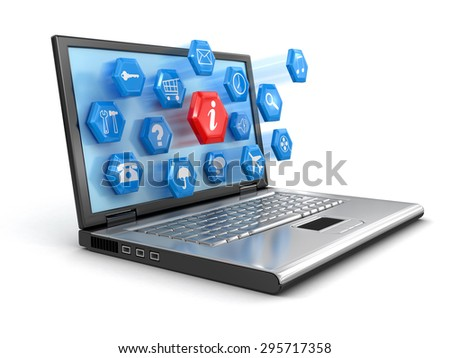 Laptop and pictograms (clipping path included) - stock photo