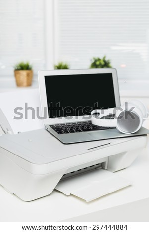 Laptop and printer.