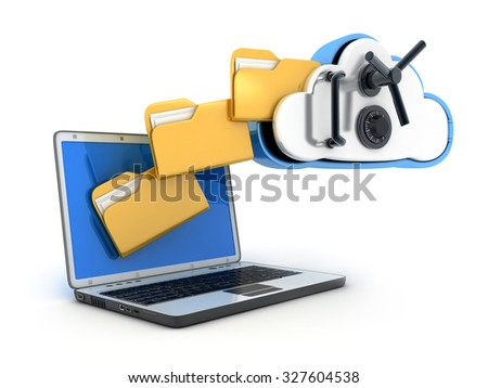 Laptop and safe cloud on white background (done in 3d) - stock photo