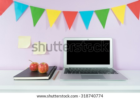 Laptop and school supplies. Education concept - stock photo