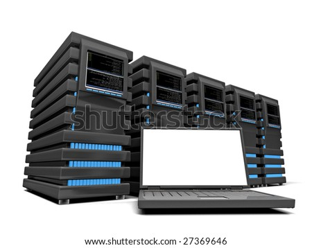 Laptop and servers - stock photo