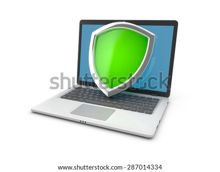 Laptop and shield.