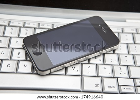 Laptop and Smart Phone - stock photo