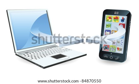 Laptop and smartphone communicating via wireless technology concept - stock photo